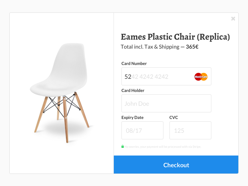 Daily UI #002 – Credit Card Checkout 002 furniture eames vitra paymenprocessor stripe creditcard payment checkout dailyui