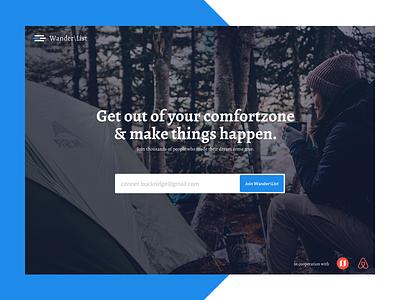 Daily UI #003 – Landingpage   Wander\List comfortzone camping newslettersignup ui airbnb nomadlist dailyui hiking wanderlust