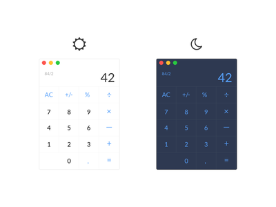 Daily UI #004 – Calculator | Day & Night Mode moon sun nightmode night app 42 minimal applestyle calc dailyui calculator