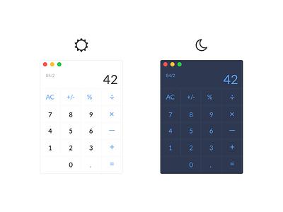 Daily UI #004 – Calculator | Day & Night Mode moon sun nightmode night app 42 minimal applestyle calc dailyui calculator