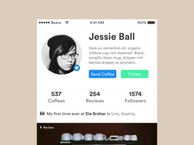 Daily UI #006 – User Profile   Coffee Addicts review images dailyui profile user coffee