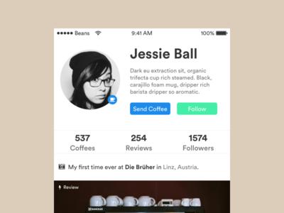 Daily UI #006 – User Profile | Coffee Addicts
