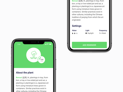 """Water Yo' Plant"" - Reminder App (WIP) wip daylight frequency mobile app iphonex iphone reminder bonsai plant water"