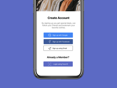 Daily UI 001 — Sign Up mobile design mobile app design mobile product design product fashion create account shopify faceid ecommerce iphone signup dailyui