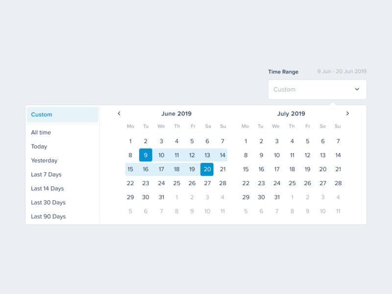 Custom Timerange UI Datepicker uikit designsystem ui ux product productdesigner dashboard productdesign uiux dailyui calendar date custom datepicker