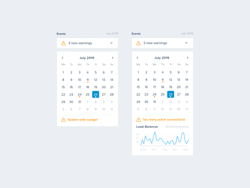 Server Monitoring — Events (Calendar) warning metrics notification calendar events charts ui  ux uikit designsystem uiux ui sentry development devops