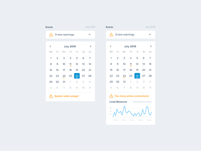 Server Monitoring — Events (Calendar) warning metrics notification calendar events charts ui  ux uikit designsystem uiux ui sentry development devops