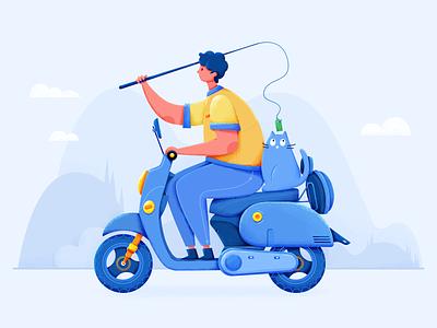 bike clouds mountain fishing blue bike cat man design drawing illustration
