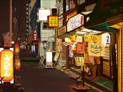 pixel piexl coffee street night lighting lamp grocery drawing design illustration