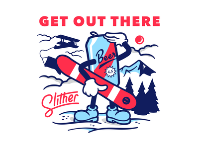 Get Out There snow outdoors illustration can beer