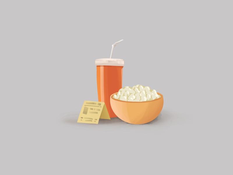 Popcorn and Soda illustration theatre popcorn