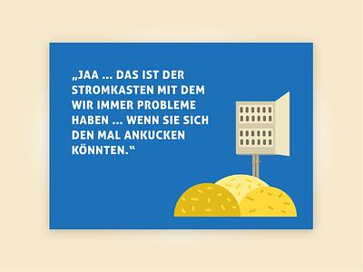 Aber warum liegt denn hier Stroh rum? electricity german illustration postcard