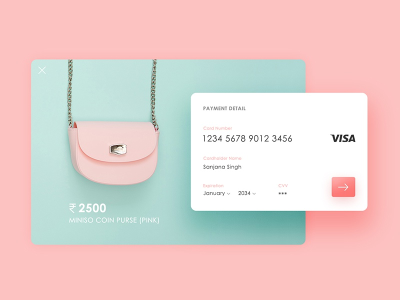 Daily UI: #002 Credit Card Checkout ux ui signup signin screen register pastel mobile interface dailyui app
