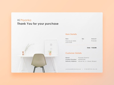 Daily UI: #017 Email Receipt online shopping email receipt purchase muzli peach ecommerce furniture chair table receipt email