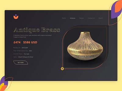 Antique Brass Product Banner vintage product banner product brass antique ui webdesign website web gradient design dribbble