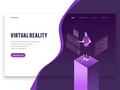 VIRTUAL RALITY landing page banner web design technology ux ui illustrations isometric debut scifi reality virtual reality virtual