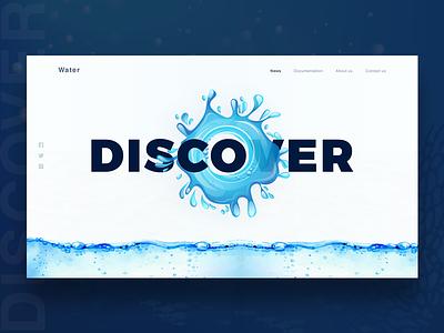 Water website Concept webdesign landing page banner typography design web website  banner banner website water