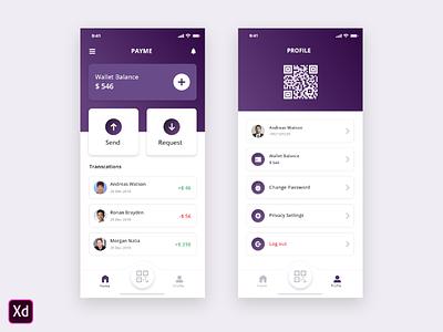 Wallet app concept presentation gradient qrscan iphonex wallet ios