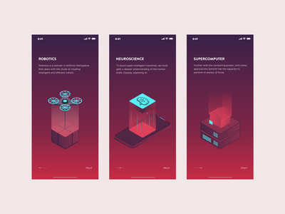 AI Onboarding Concept isometric illustration onboarding ui iphone 10 artificial intelligence gradient illustration ios
