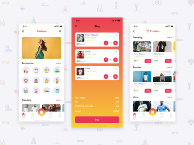 Fashion Ecommecre Concept app dribbble 2019 cart ux ui ios iphone 10 fashion gradient ecommerce fashion app