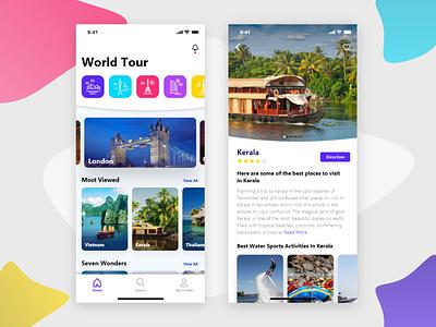 World Tour App ui design ios iphone 10 ux dribbble gradient card icons travel guide travel app travel tourist