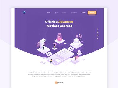 Technology Homepage vector banner design ux ui typography branding landing page homepage design