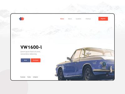 Landing page vintage car clean design homepage banner