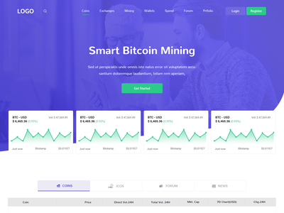 Homepage landing page crypto currency homepage design