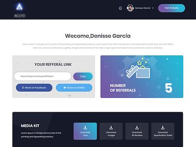 Referral Page web page design dashboard ui