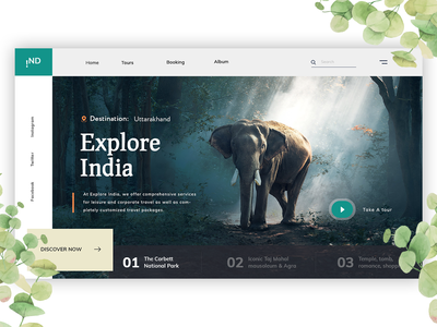 Explore India travel website illustration vector ux typography ui logo design branding homepage design landing page