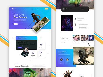 Game Homepage landing page animation icon app design design logo ux ui typography illustration banner design branding homepage design