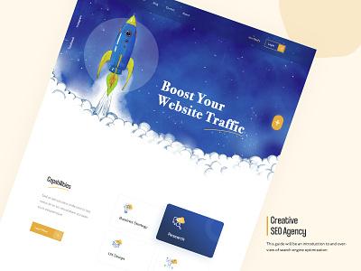 SEO Homepage Design seohomepage web app vector illustration banner design ux ui typography branding homepage design