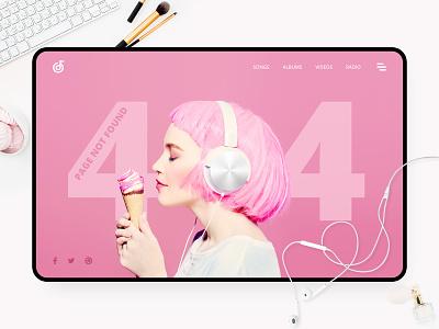 404 page   Daily UI #008 林位青 web music earphone headset pink ui app app design daily ui dailyui app ui