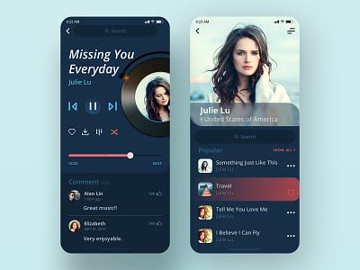 Music Player   Daily UI #009 music player music 林位青 app design app ui daily ui dailyui app ui