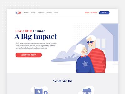 housing group web header illustration home grandfather grandmother header typogaphy vector web ui illustration