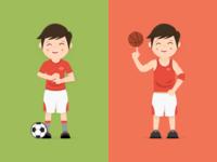 Scode, Basketball & Football Player