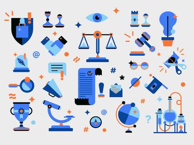 LNCP icon set goverment corporate illustration icons friendly design set flat icon