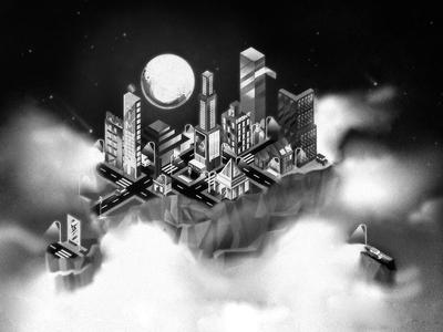 It's been a while. digitalart illustrator city black and white noisy visual keyvisual illustration