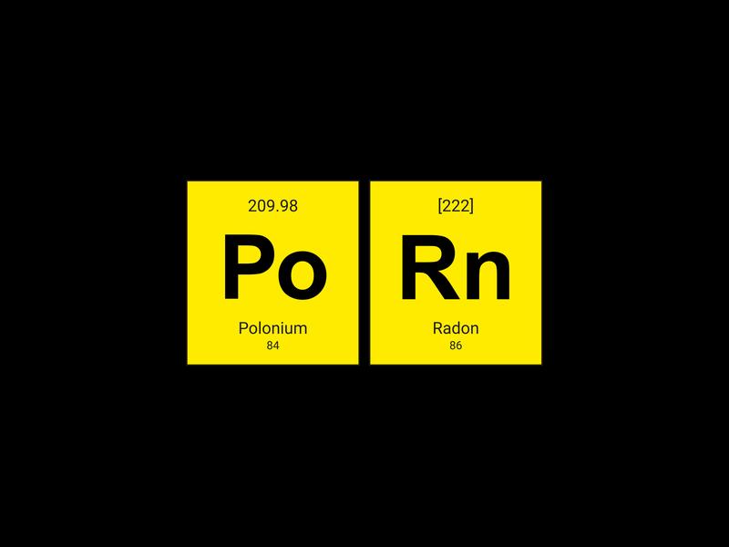 Periodic table - Polonium+Radon yellow radon pololium periodic table competition vector illustration design t-shirt