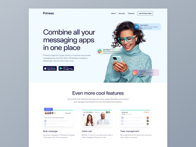 Use one app for all your communication services hero header ux ui homepage combine communication interface chat app flat ui app websites messaging app