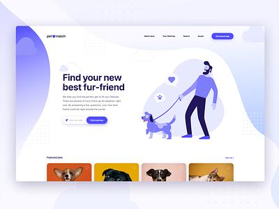 Pet Adoption Landing Page figma ux vector web gradient character flat illustration website ui design