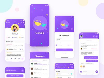 Social Messaging App Design concept ux ios young social messenger chat app mobile flat vector branding design ui