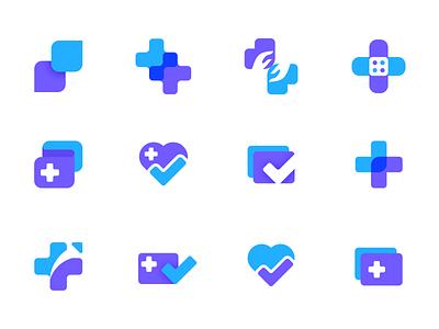 Health Startup Logo / Icon Explorations health app web app brand design brand identity logo design flat illustration vector flat duotone icon health startup medical logo branding