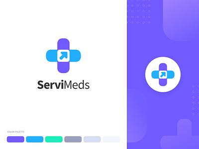 ServiMeds Health App Branding color palette colors pharma medical health icon vector illustration flat typography logo branding