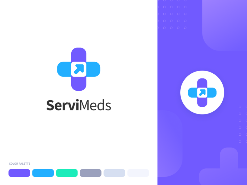 ServiMeds Health App Branding color palette colors pharma medical health icon vector illustration flat typography logo branding