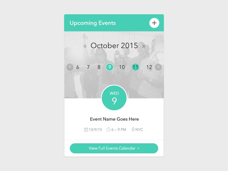 Calendar Widget flat dashboard event design ui widget calendar