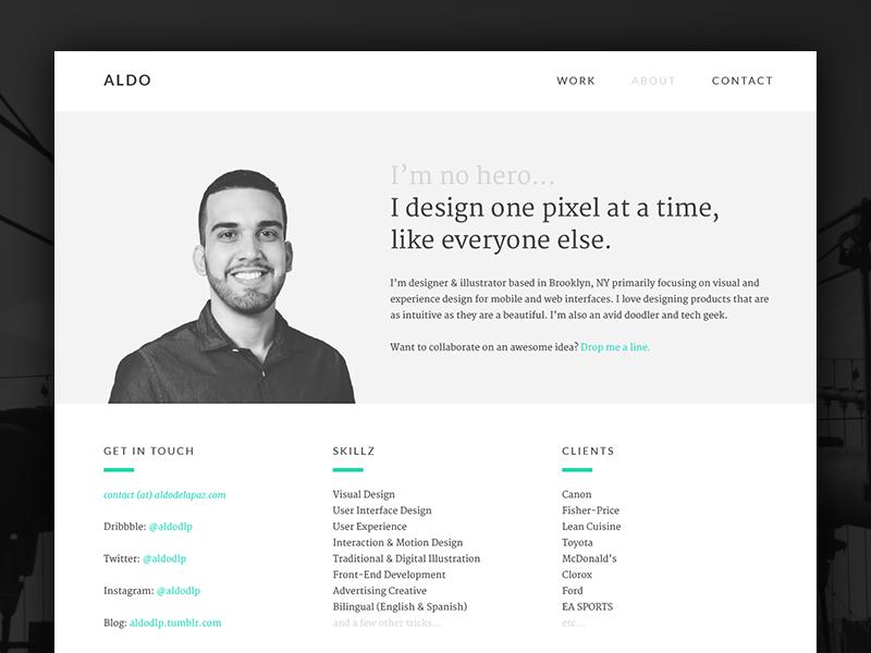 I'm no hero... freelancer designer bio sketch about portfolio