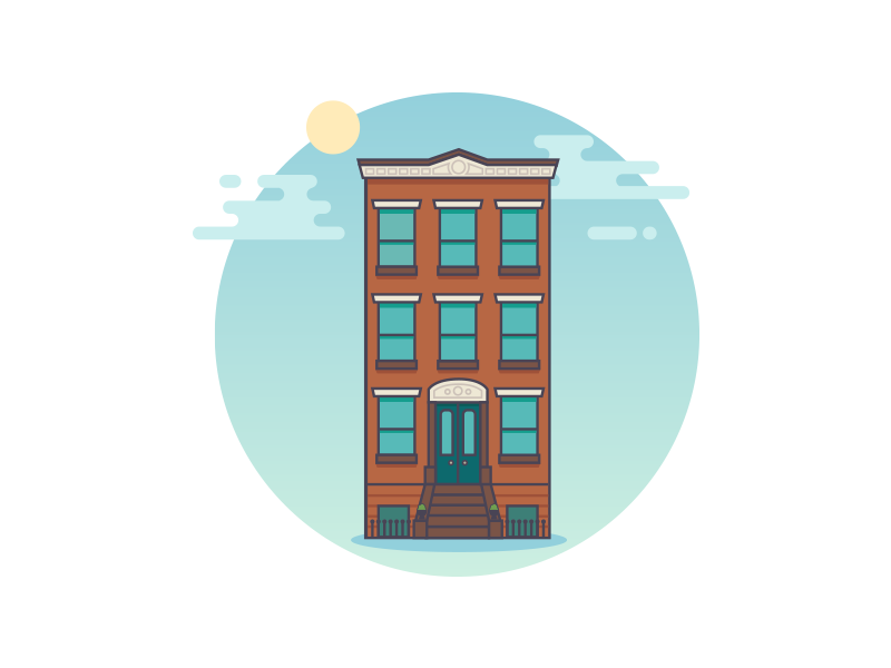 Clouds Over Brooklyn nyc vector illustration townhouse brownstone brooklyn
