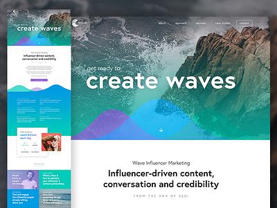 Wave Website ui scroll page single identity logo gradient desktop mobile website responsive wave