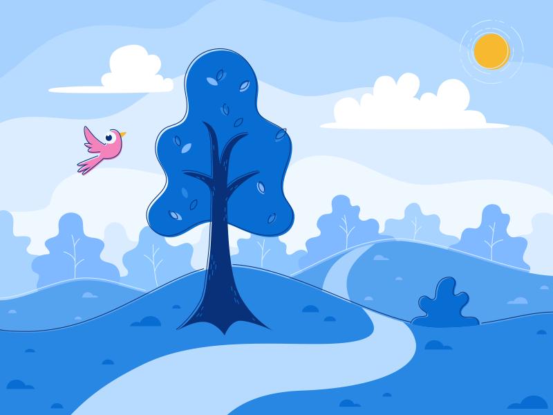 NYC Park blue vector flat trees bird sunny summer park brooklyn illustration